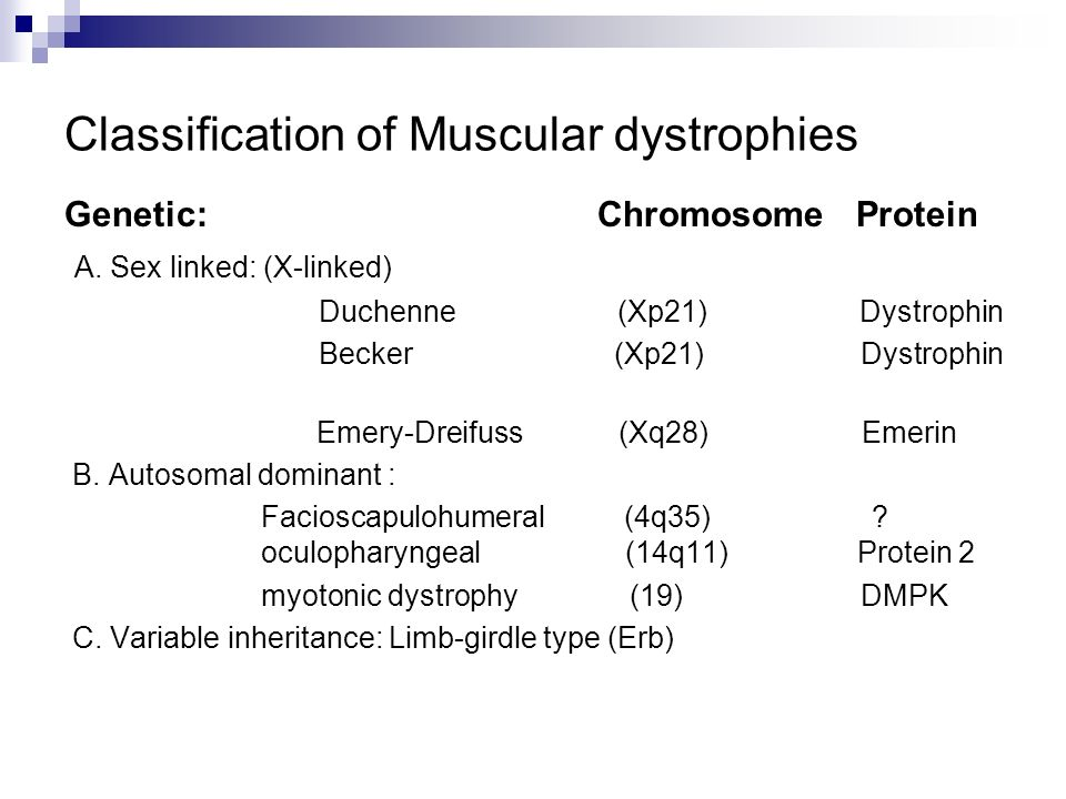 Classification of Muscular dystrophies