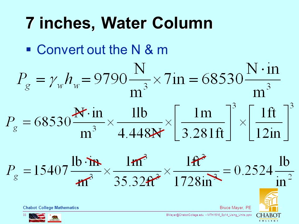 33 7 Inches Water Column Convert Out The N M