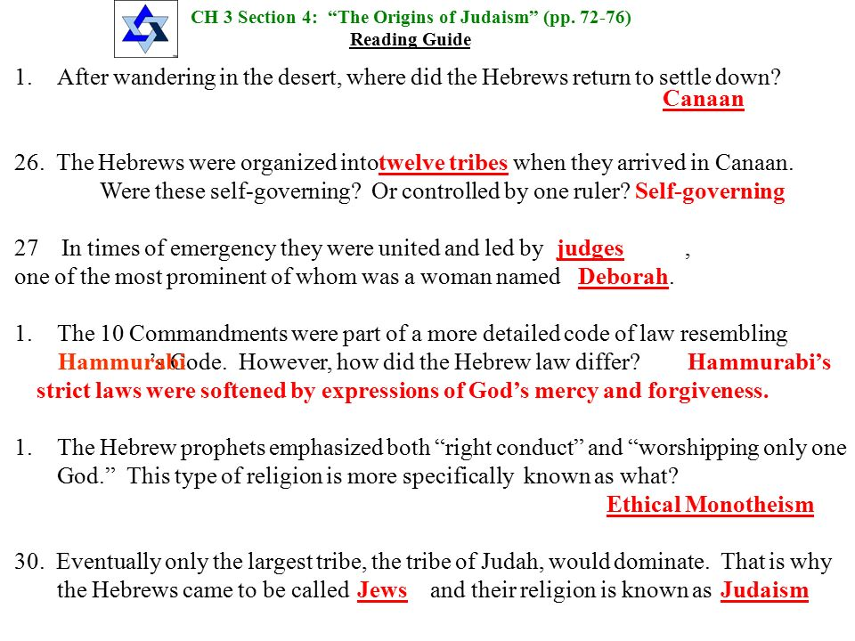 Chapter 3 Section 4 Origins Of Judaism Ppt Video Online Download
