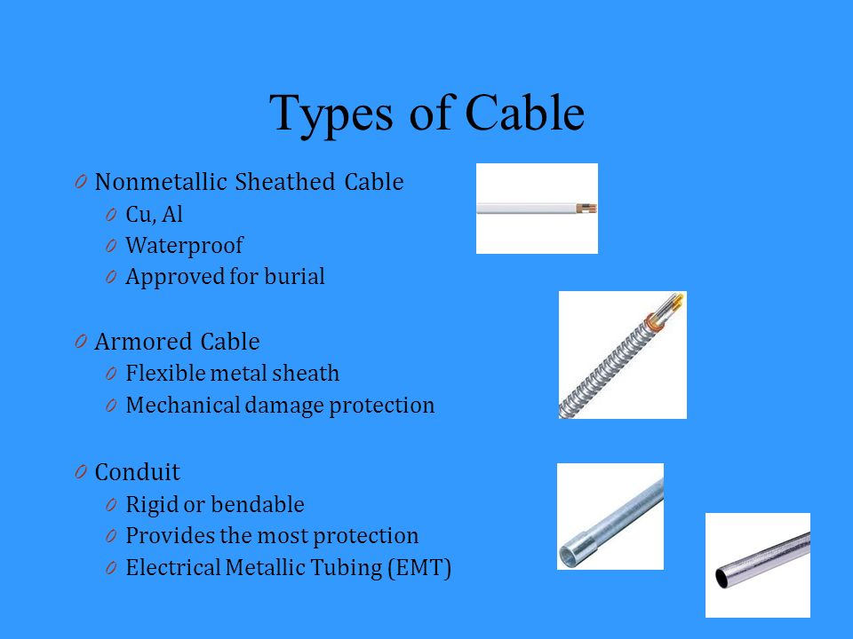 Types of Cable Nonmetallic Sheathed Cable Armored Cable Conduit Cu, Al