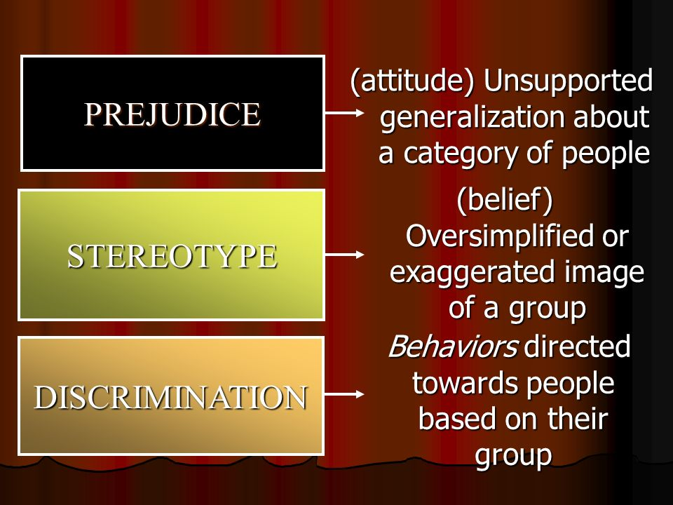 prejudice attitudes Prejudice is usually referred to as a negative attitude, especially when it is a hatred or intolerance for certain kinds of people when a person acts on his prejudice, then it becomes discrimination.