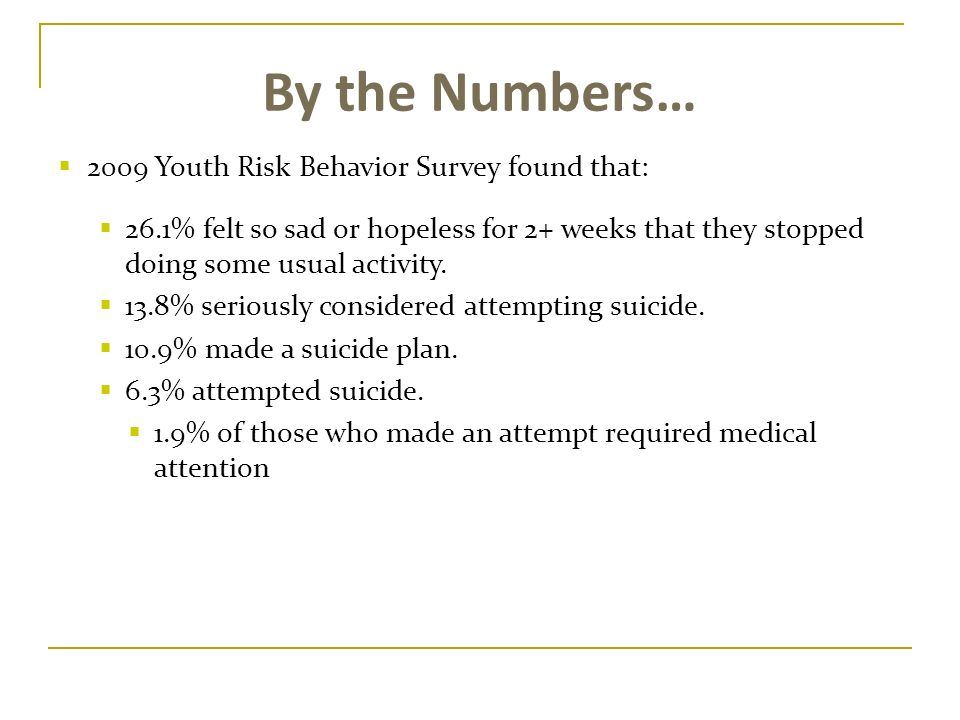 By the Numbers… 2009 Youth Risk Behavior Survey found that: