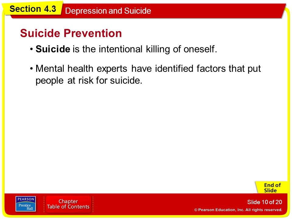 Suicide Prevention Suicide is the intentional killing of oneself.