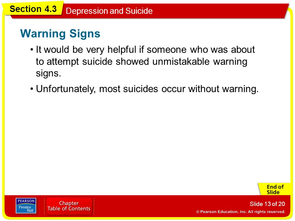 Warning Signs It would be very helpful if someone who was about to attempt suicide showed unmistakable warning signs.