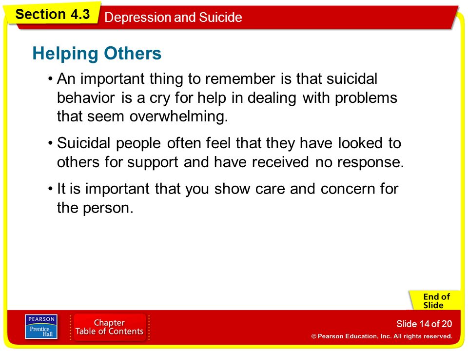 Helping Others An important thing to remember is that suicidal behavior is a cry for help in dealing with problems that seem overwhelming.