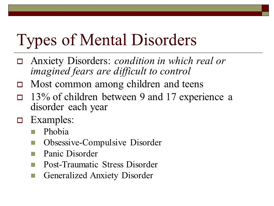 Types of Mental Disorders