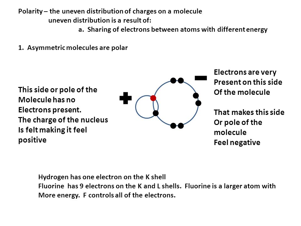 The charge of the nucleus Is felt making it feel positive
