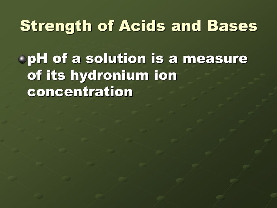 Strength of Acids and Bases