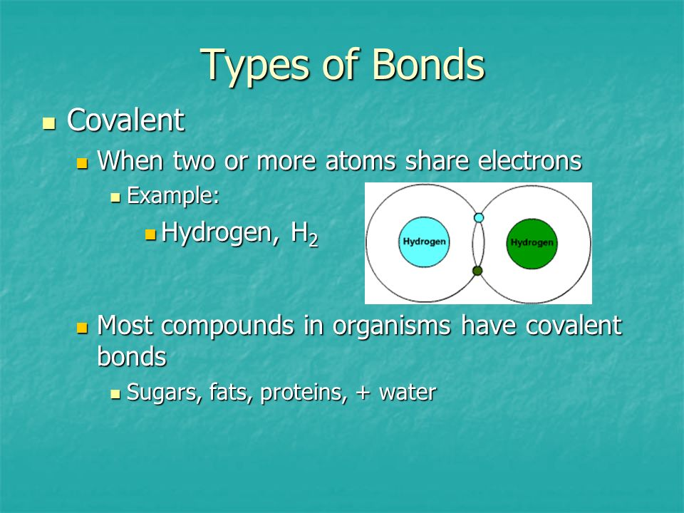 Types of Bonds Covalent When two or more atoms share electrons