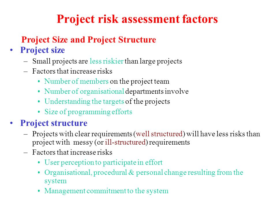 Project risk assessment factors