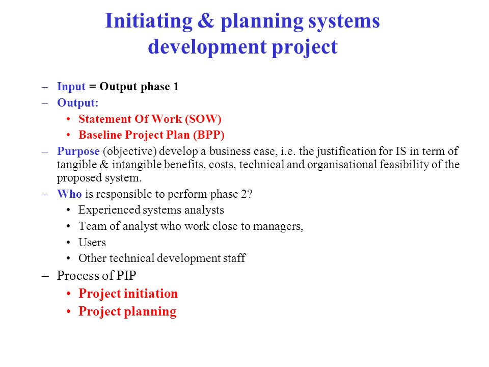 Initiating & planning systems development project