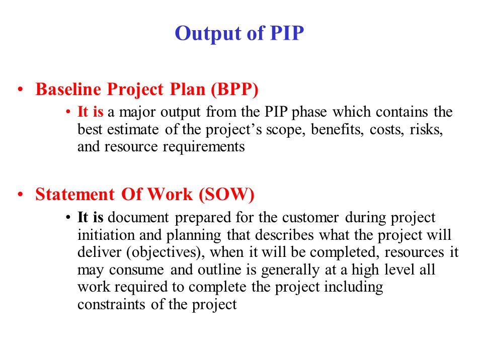 Output of PIP Baseline Project Plan (BPP) Statement Of Work (SOW)