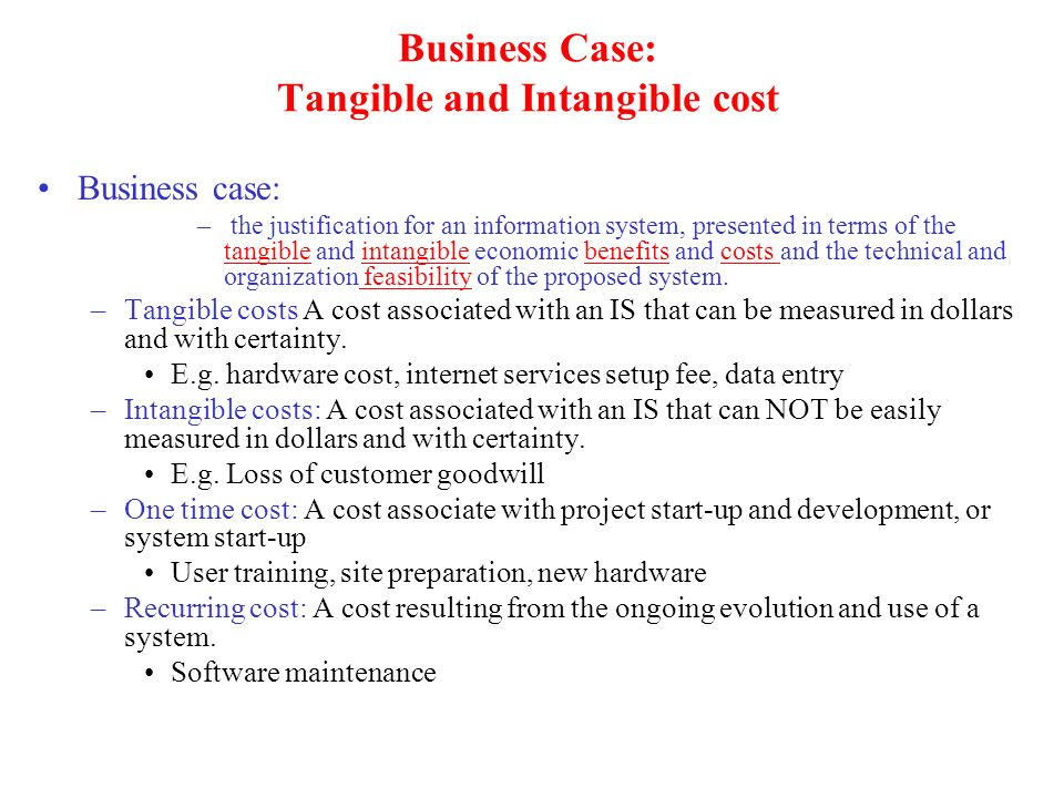 Business Case: Tangible and Intangible cost