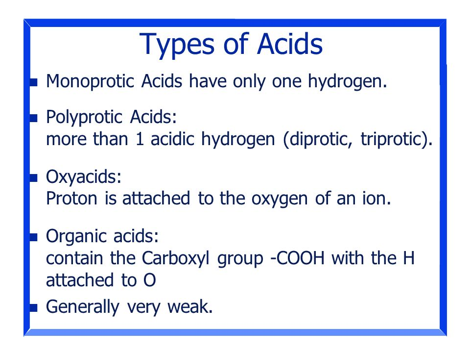 Types of Acids Monoprotic Acids have only one hydrogen.