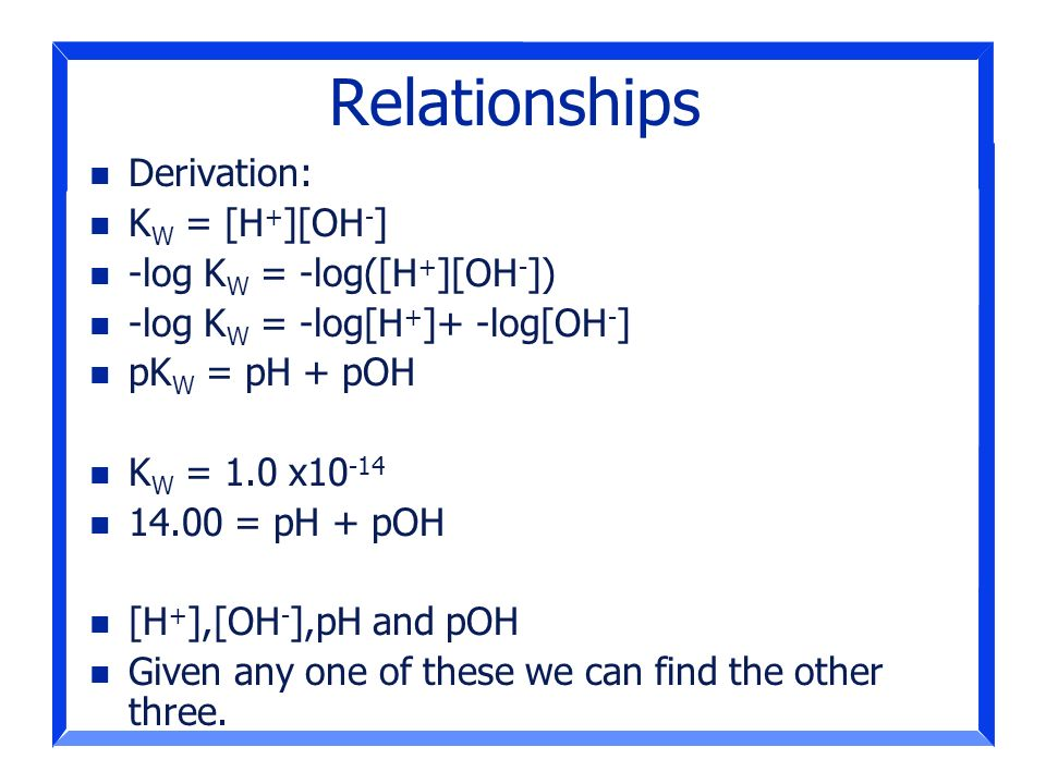 Relationships Derivation: KW = [H+][OH-] -log KW = -log([H+][OH-])