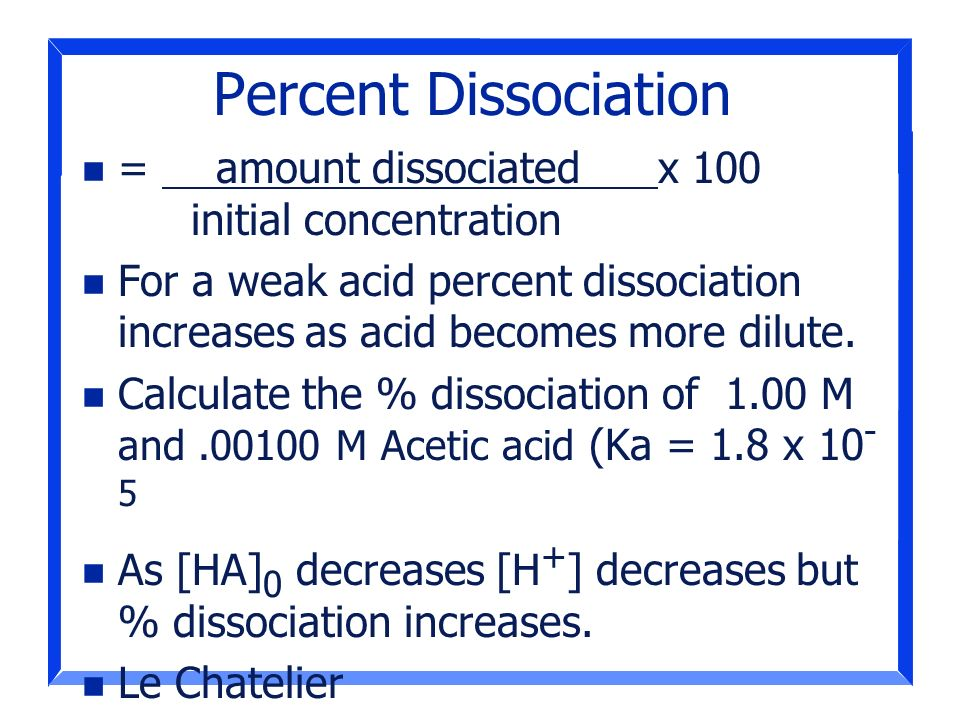 Percent Dissociation = amount dissociated x 100 initial concentration