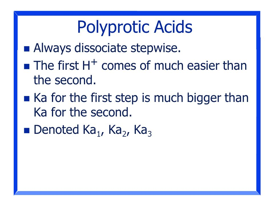 Polyprotic Acids Always dissociate stepwise.
