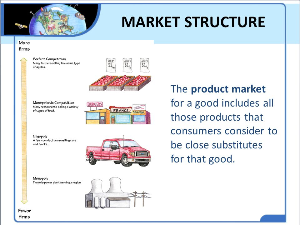 MARKET STRUCTURE The product market for a good includes all those products that consumers consider to be close substitutes for that good.