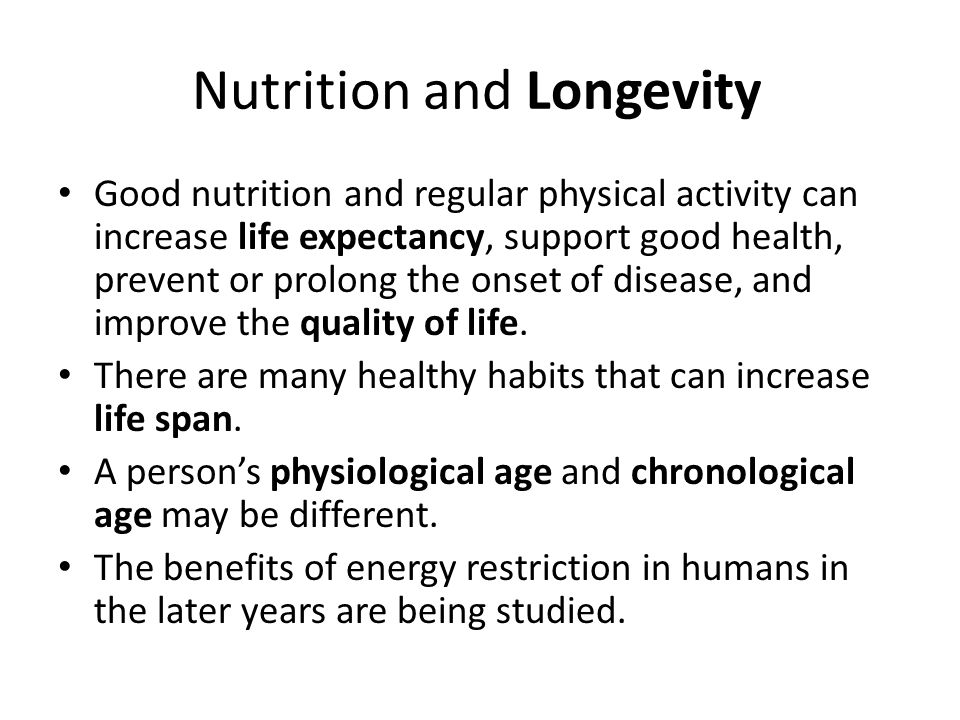 Nutrition and Longevity
