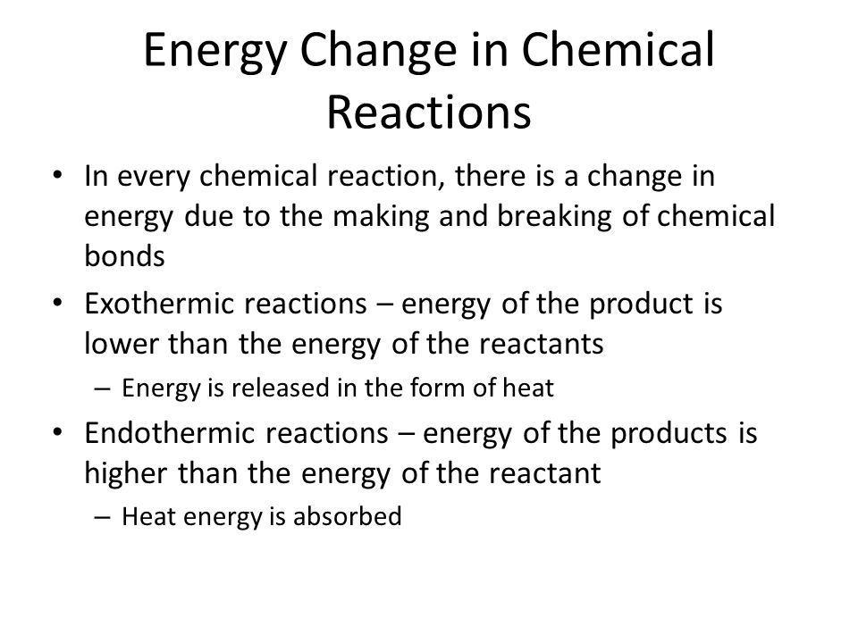 Energy Change in Chemical Reactions