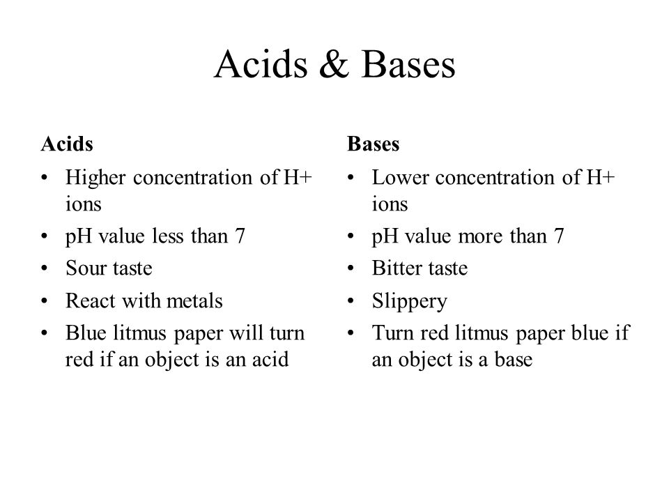 Acids & Bases Acids Bases Higher concentration of H+ ions