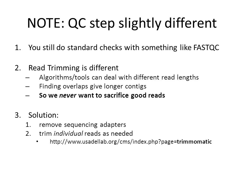 NOTE: QC step slightly different