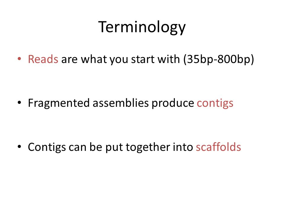 Terminology Reads are what you start with (35bp-800bp)