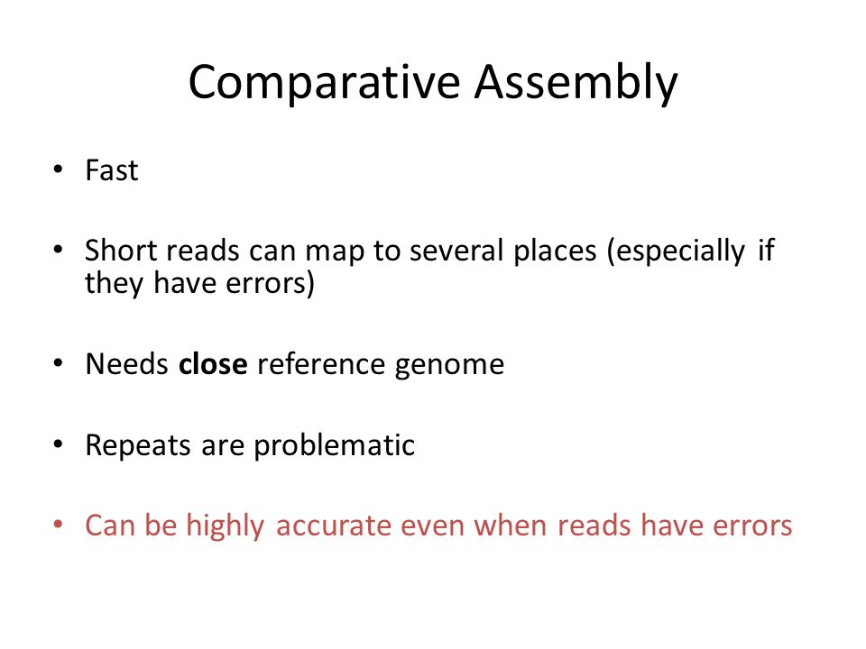 Comparative Assembly Fast
