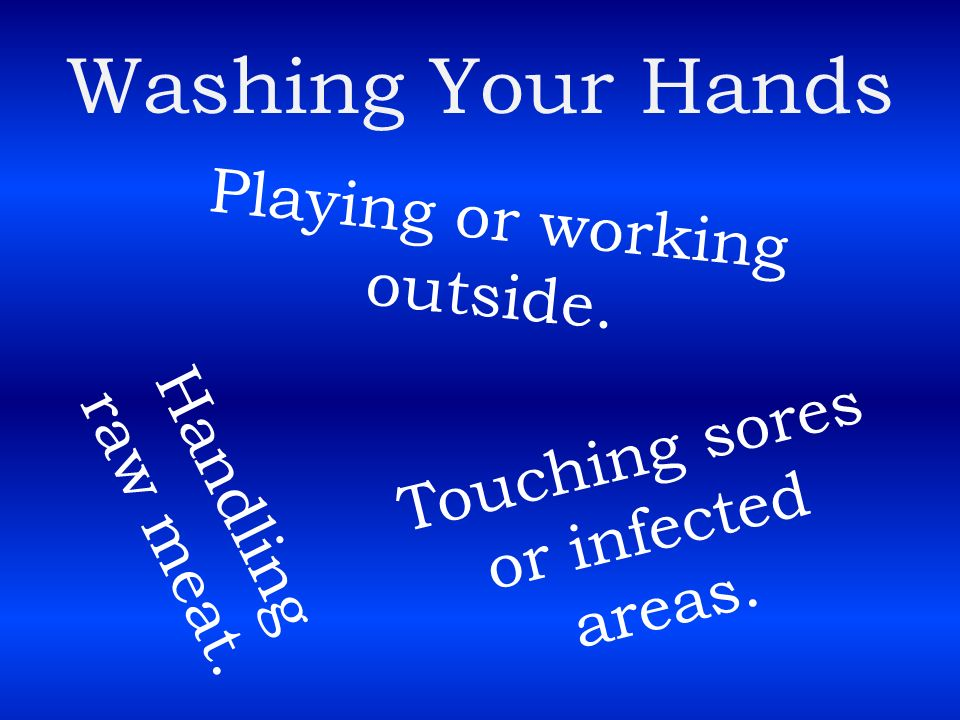 Washing Your Hands Playing or working outside.