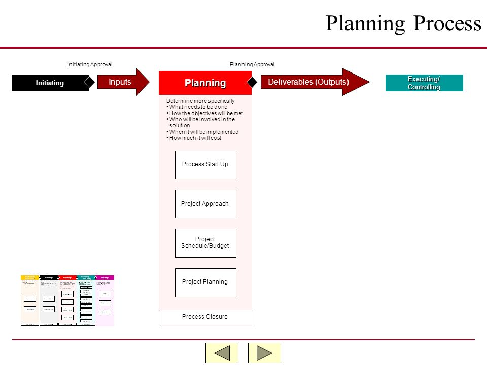 Planning Process Planning Inputs Deliverables (Outputs)