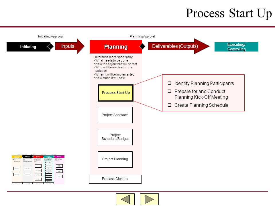 Process Start Up Planning Inputs Deliverables (Outputs)