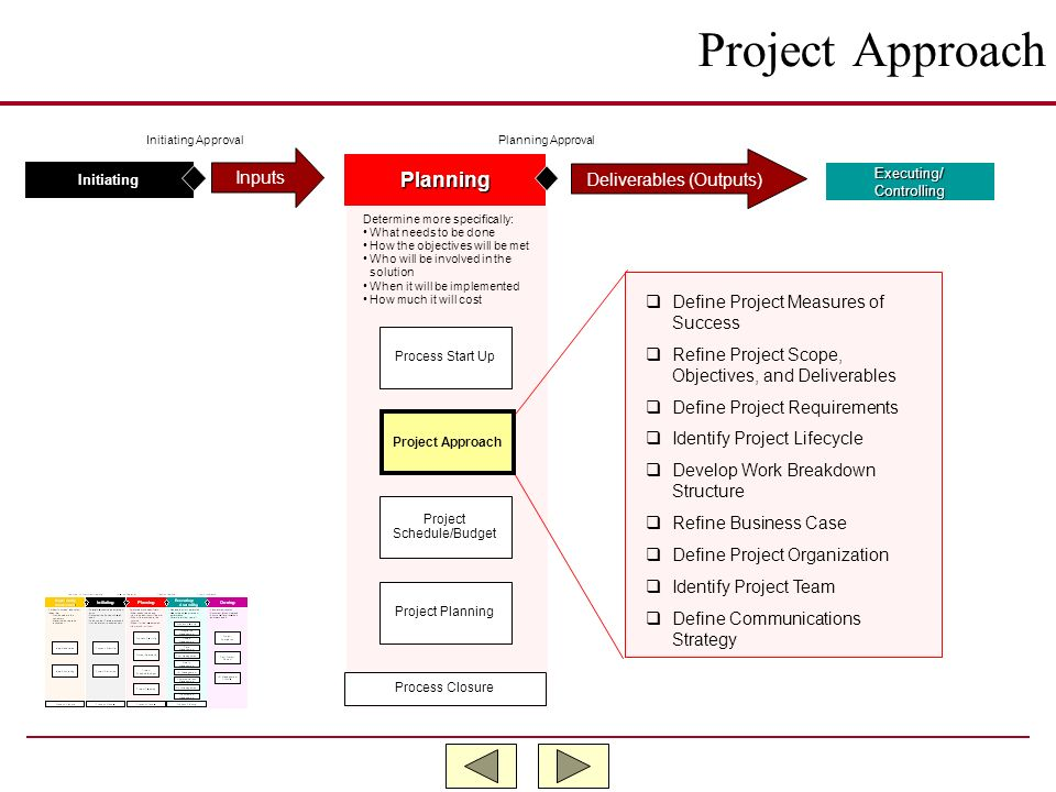 Project Approach Planning Inputs Deliverables (Outputs)