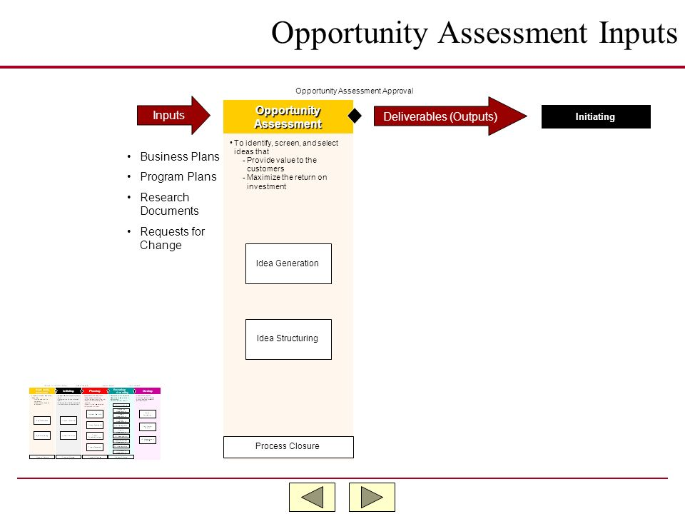 Opportunity Assessment Inputs
