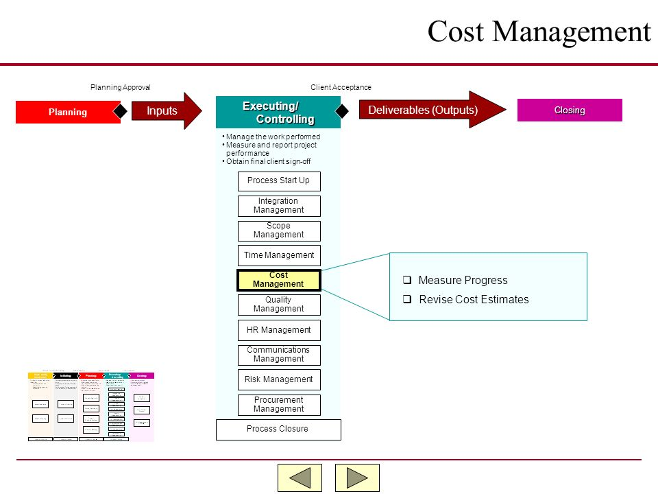 Cost Management Inputs Executing/ Deliverables (Outputs) Controlling