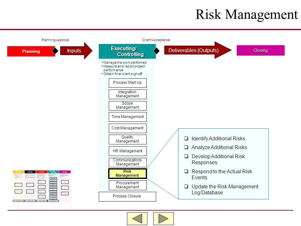 Risk Management Inputs Executing/ Deliverables (Outputs) Controlling