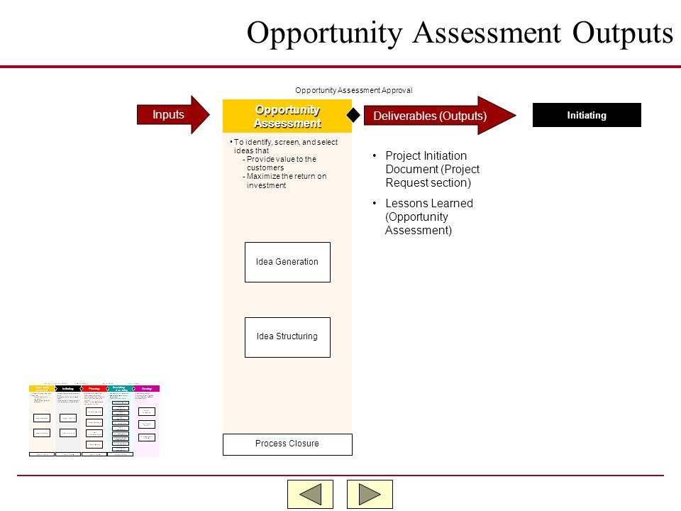 Opportunity Assessment Outputs