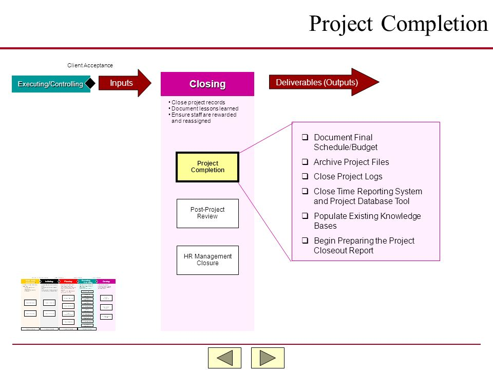 Project Completion Closing Inputs Deliverables (Outputs)