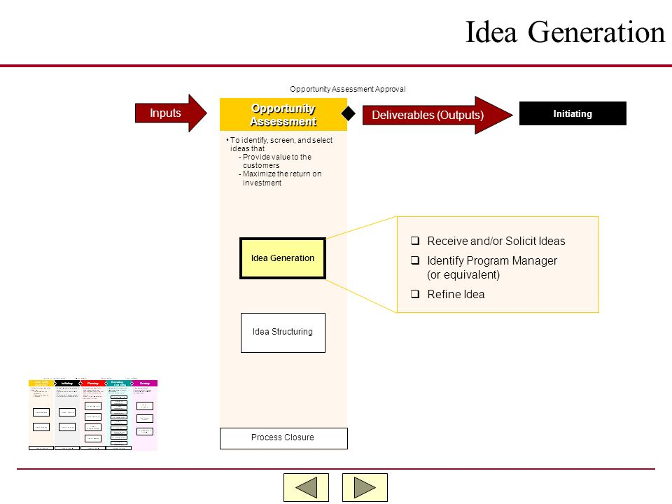 Idea Generation Inputs Opportunity Deliverables (Outputs) Assessment