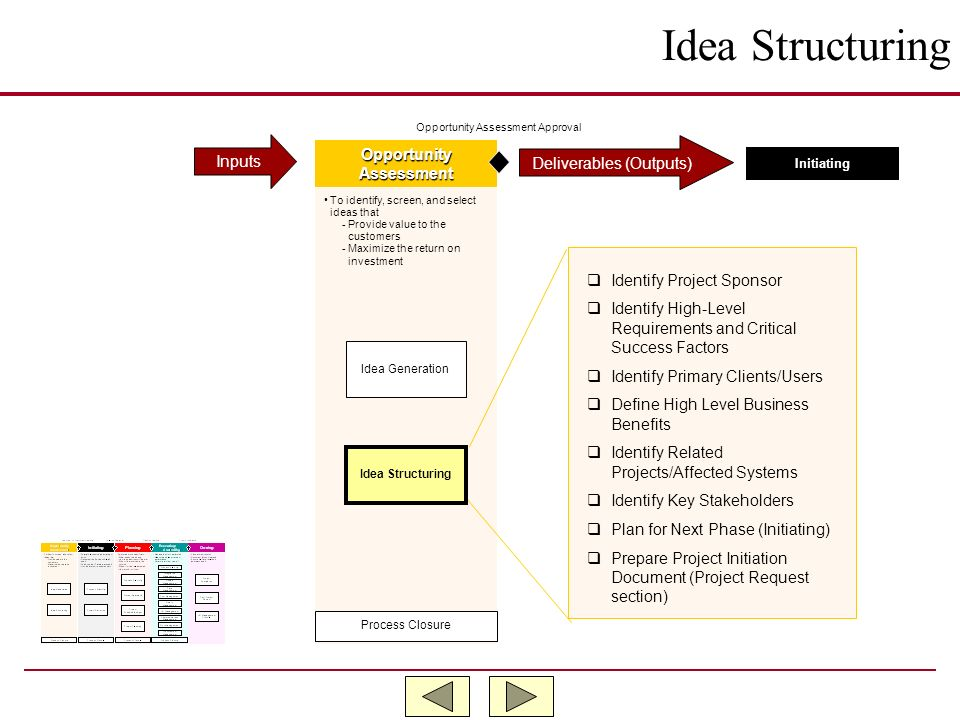 Idea Structuring Inputs Opportunity Deliverables (Outputs) Assessment