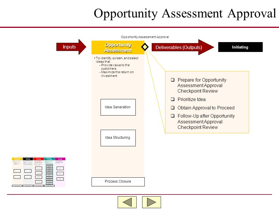 Opportunity Assessment Approval