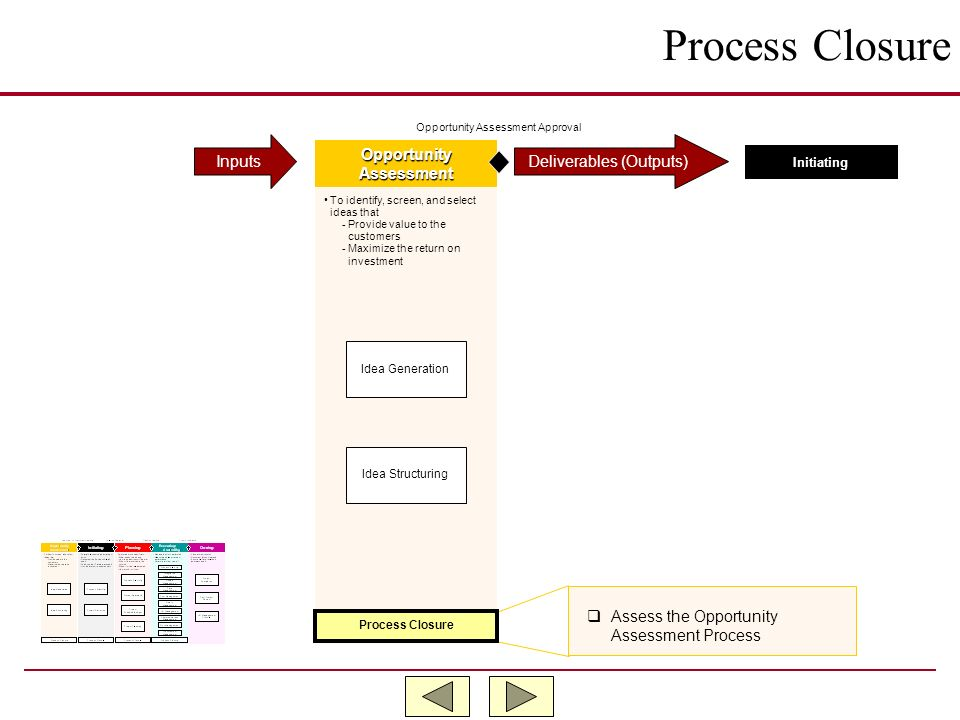 Process Closure Inputs Deliverables (Outputs) Opportunity Assessment