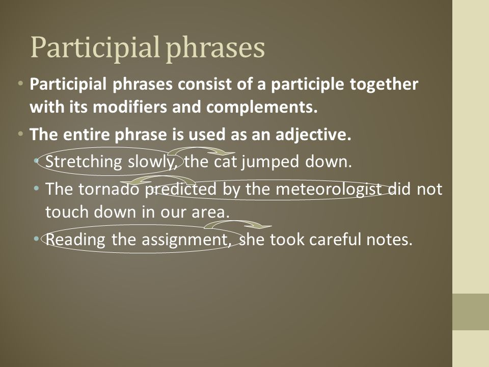 Participial phrases Participial phrases consist of a participle together with its modifiers and complements.