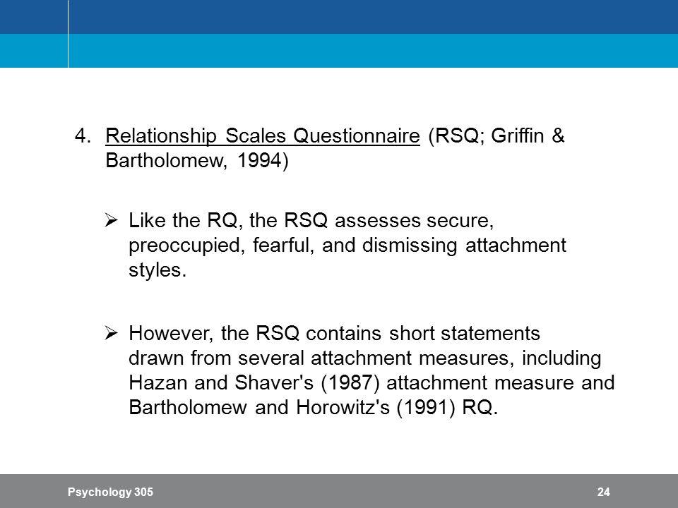 Scoring relationship questionnaire bartholomew Relationship Scales