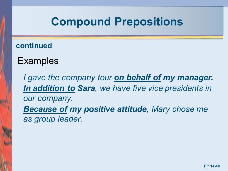 Compound preposition explaination with examples in hindi/urdu.