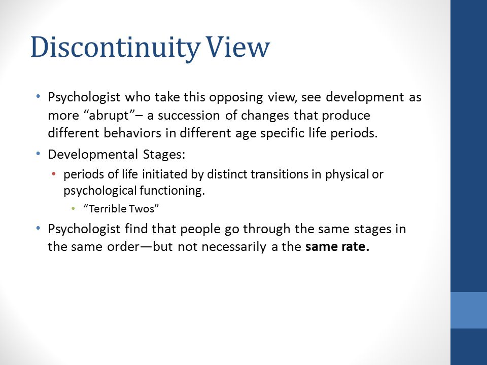 what is discontinuity in psychology