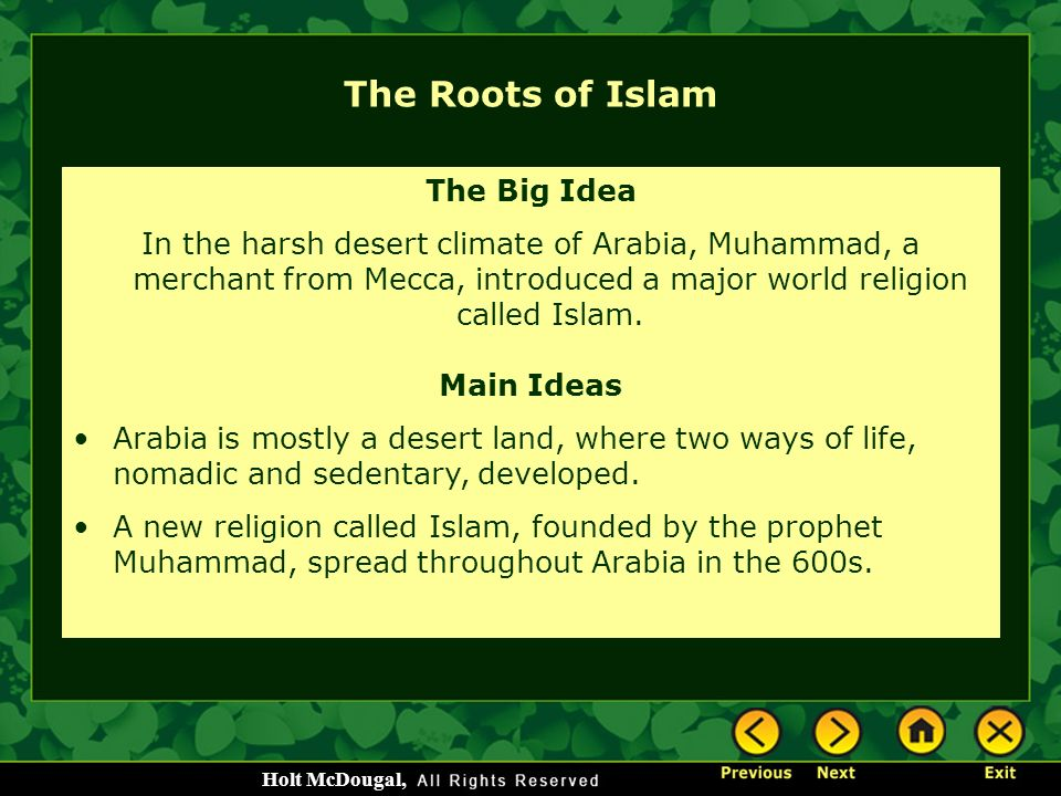 The roots and origins of islamic