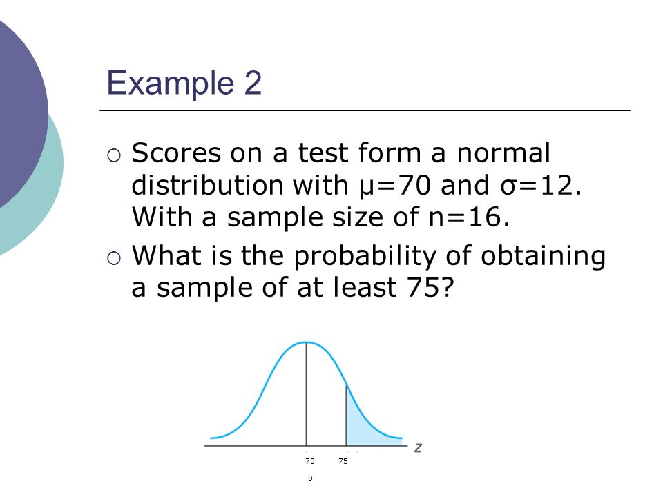 Example 2 Scores on a test form a normal distribution with µ=70 and σ=12. With a sample size of n=16.
