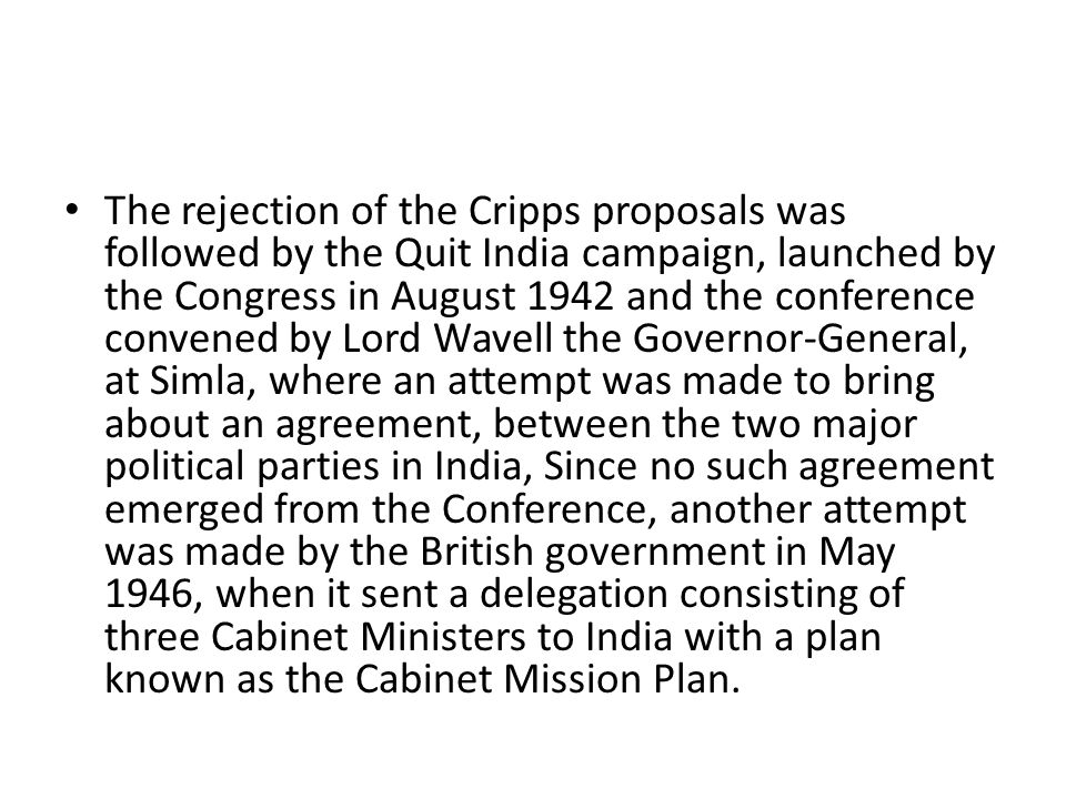 Constitutional Developments A Cabinet Mission Small Plan Of 1945