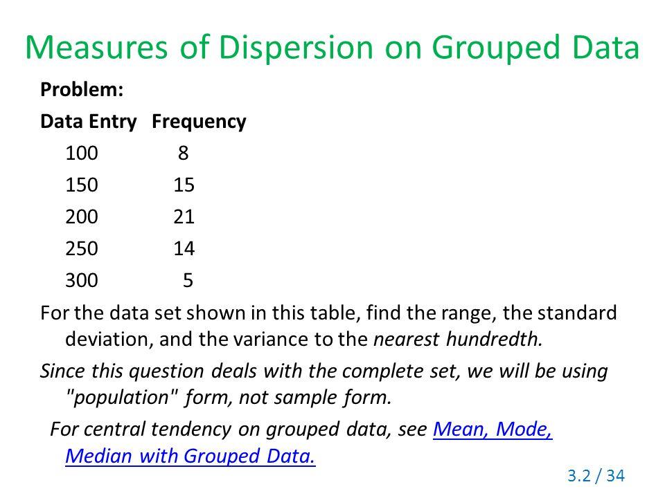 Section 32 Measures Of Variation Range Standard Deviation Variance