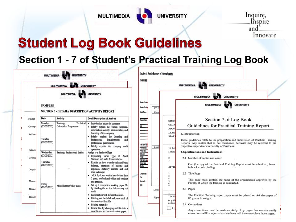 preparation of practical training log book